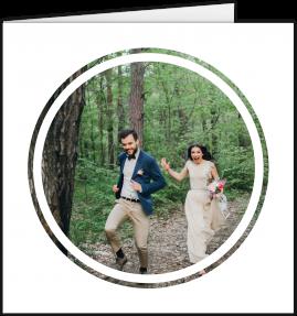 A modern wedding thank you card with a circular white photo frame.
